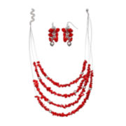 Mixit™ Red 4-Strand Necklace and Earrings Set