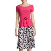 Perceptions Short-Sleeve Brush Stroke Print A-Line Dress