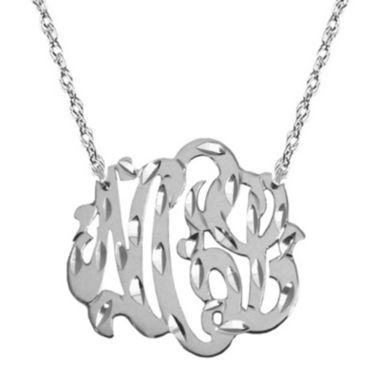 "jcpenney.com | Personalized Diamond-Cut 1"" Monogram Necklace"