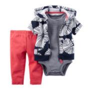 Carter's® 3-pc. Cardigan, Bodysuit and Shorts Set - Baby Girls newborn-24m