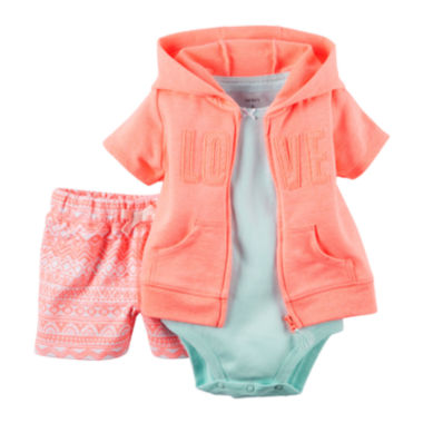 jcpenney.com | Carter's® 3-pc. Cardigan, Bodysuit and Shorts Set - Baby Girls newborn-24m