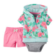 Carter's® 3-pc. Cardigan, Bodysuit and Shorts Set - Baby Girls newborn-24m