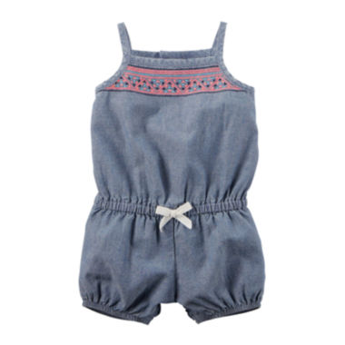 jcpenney.com | Carter's® Sleeveless Embroidered Denim Romper - Baby Girls newborn-24m