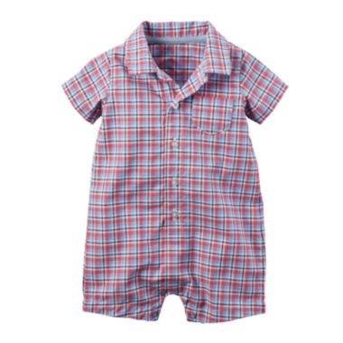 jcpenney.com | Carter's® Short-Sleeve Plaid Romper - Baby Boys newborn-24m