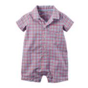 Carter's® Short-Sleeve Plaid Romper - Baby Boys newborn-24m