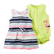 Carter's® 2-pk. Flutter Sleeve Cotton Romper - Baby Girls newborn-24m