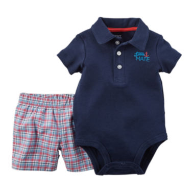 jcpenney.com | Carter's® Short-Sleeve Polo Bodysuit and Shorts Set - Baby Boys newborn-24