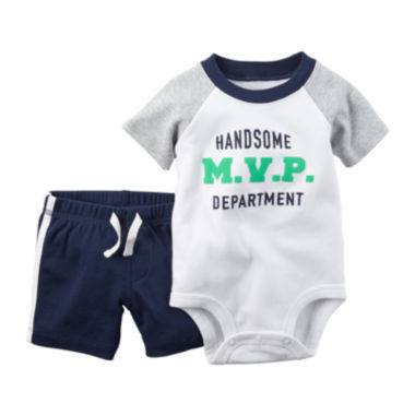 jcpenney.com | Carter's® 2-pc. Short-Sleeve Polo Bodysuit and Shorts Set - Baby Boys newborn-24m