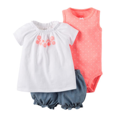 jcpenney.com | Carter's® 3-pc. Bodysuit and Shorts Set - Baby Girls newborn-24m