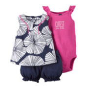 Carter's® 3-pc. Bodysuit and Shorts Set - Baby Girls newborn-24m
