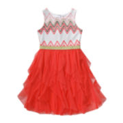 Emily West® Sleeveless Chevron Cascade Dress - Girls 7-16