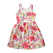 Emily West® Sleeveless Floral Lace-Neck Dress - Girls 7-16