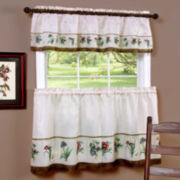 Botanical Print Rod-Pocket Window Tier and Valance Set