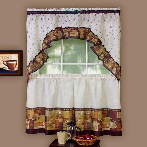 Coffee Print Rod-Pocket Window Tier and Swag Valance Set
