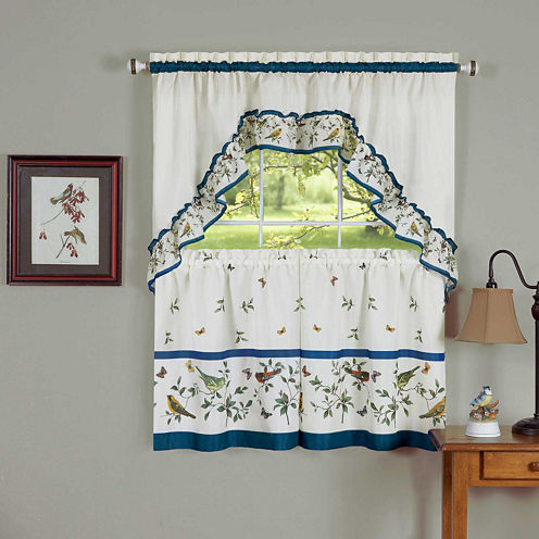 Lovebirds Rod-Pocket Window Tier and Swag Valance Set