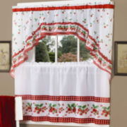 Strawberry Vine Rod-Pocket Window Tier and Swag Valance Set