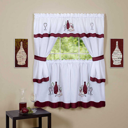 Cabernet Embellished Cottage Window Tier and Topper Set