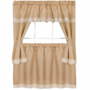 Harwood Embellished Cottage Window Tier and Topper Set