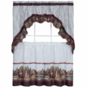 Woodlands Window Tier and Ruffled Swag Valance Set