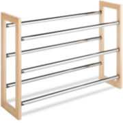 Whitmor Wood & Chrome 3-Tier Shoe Rack