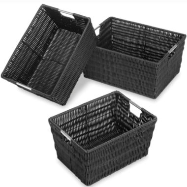 jcpenney.com | Whitmor Rattique 3-pc. Black Storage Basket Set