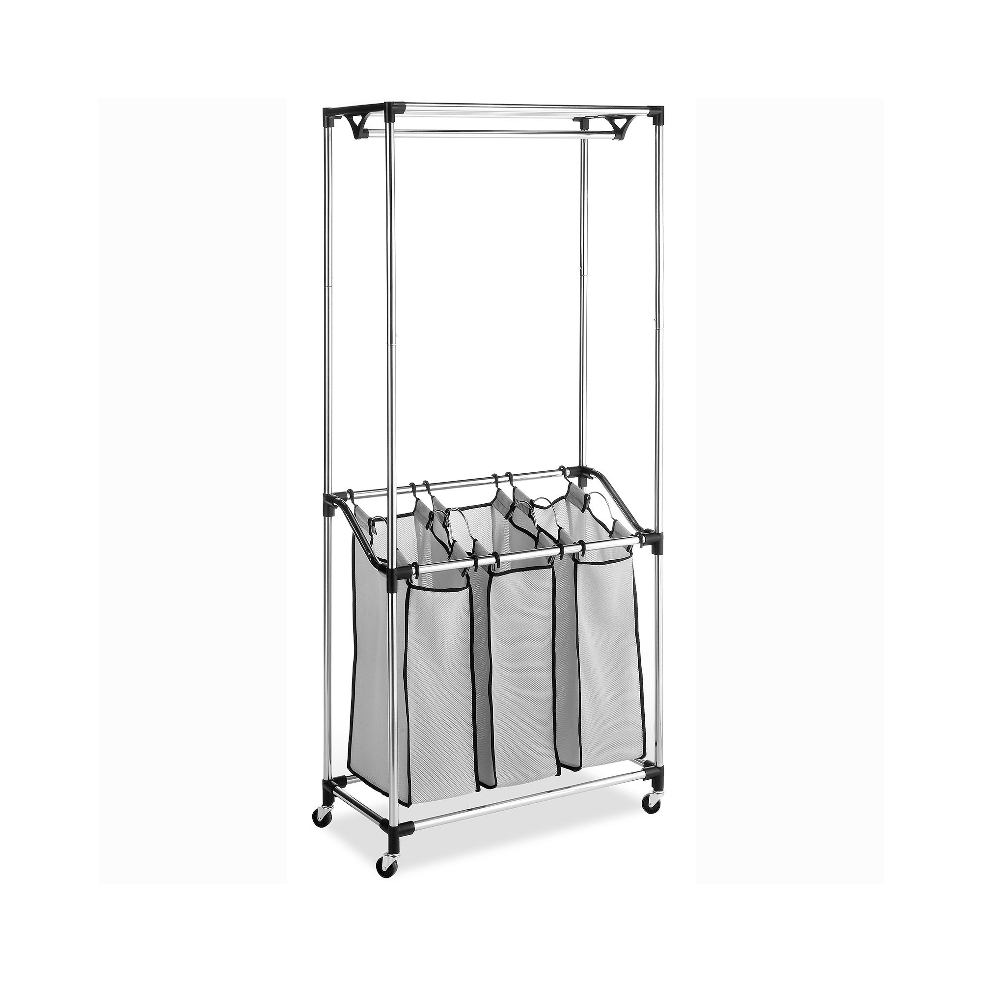 Whitmor Chrome Laundry Center with Mesh Bags