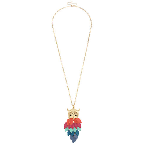 Decree® Pink and Blue Oval Link Gold-Tone Owl Necklace