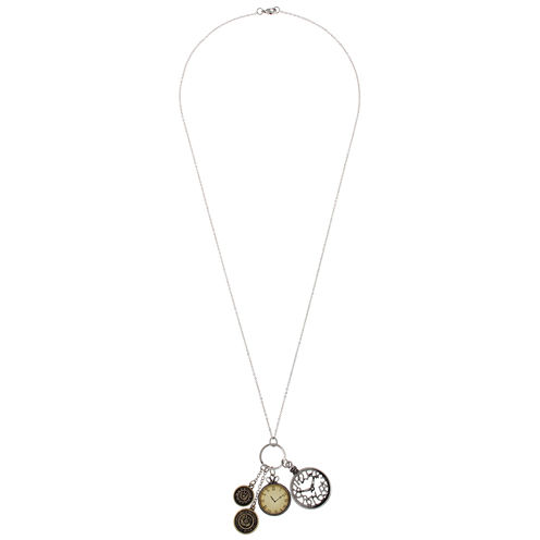 Decree® Multi Clock Two-Tone Charm Necklace