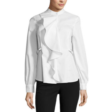 jcpenney.com | Worthington Long Sleeve Y Neck Woven Blouse-Talls