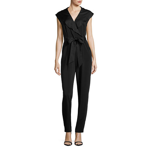 Worthington Sleeveless Belted Jumpsuit-Talls