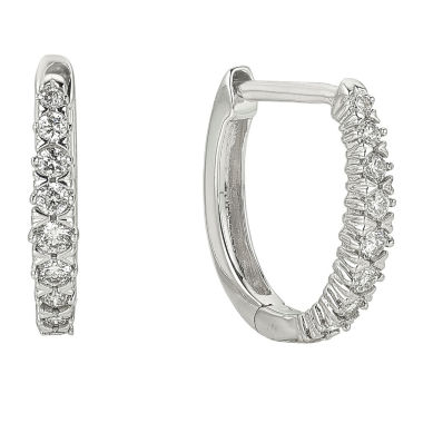 jcpenney.com | 1/2 CT. T.W. White Diamond 10K Gold Hoop Earrings