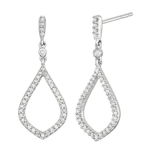 1/4 CT. T.W. White Diamond 10K Gold Drop Earrings