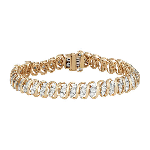 Womens 7 Inch 4 CT. T.W. White Diamond 10K Gold Link Bracelet