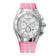 TechnoMarine® Cruise Womens Silver-Tone Silicone Strap Chronograph Watch