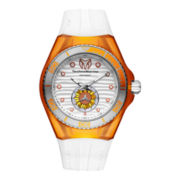 TechnoMarine® Cruise Beach Womens Orange Case Silicone Strap Watch