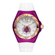 TechnoMarine® Cruise Beach Womens Purple Case Silicone Strap Watch