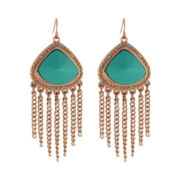 nicole by Nicole Miller® Rose-Tone Aqua Fringe Drop Earrings
