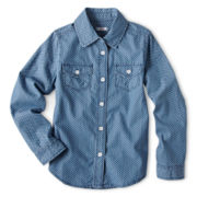 Joe Fresh Polka-Dot Chambray Long-Sleeve Shirt - Girls 4-14