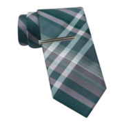 Van Heusen Slim Plaid Tie w/ Tie Bar