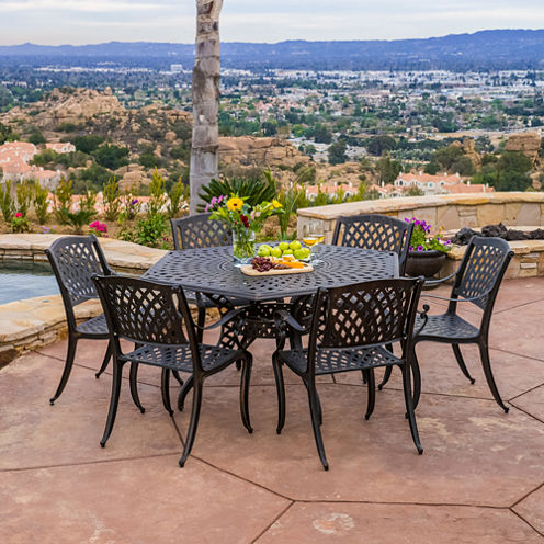 Cayman Hexagonal 7-pc. Cast Aluminum Outdoor Dining Set