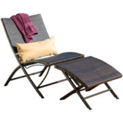 Dexter 2-pc. Outdoor Folding Lounge Chair and Ottoman Set