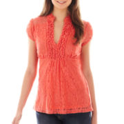 Heart & Soul® Cap-Sleeve Ruffled Lace Top