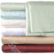 American Heritage 500tc Egyptian Cotton Sateen Embroidered Scroll Sheet Set