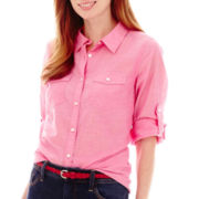 St. John's Bay® Elbow-Sleeve Roll-Tab Chambray Button-Front Shirt