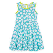 Okie Dokie® Sleeveless Print Skater Dress – Girls 4-6x