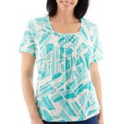 Alfred Dunner® Short-Sleeve Smocked Print Top