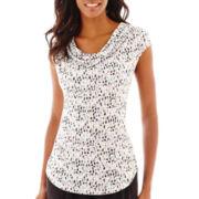 Liz Claiborne® Short-Sleeve Cowlneck Top