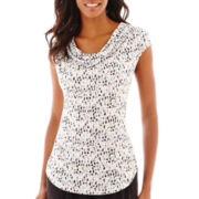 Liz Claiborne® Short-Sleeve Cowlneck Top