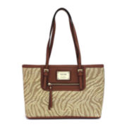 nicole by Nicole Miller® Lauryn Straw Center-Zip Tote