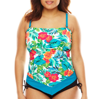 jcpenney.com | Pure Paradise® Jungle-Flower Floral Scarf Bandini Swim Top